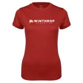 Ladies Syntrel Performance Cardinal Tee-Winthrop Athletics Flat