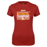 Ladies Syntrel Performance Cardinal Tee-2017 Mens Basketball Champions Stacked