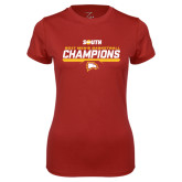 Ladies Syntrel Performance Cardinal Tee-2017 Mens Basketball Champions Repeating