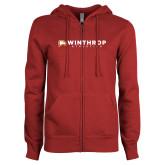 ENZA Ladies Cardinal Fleece Full Zip Hoodie-Winthrop Athletics Flat