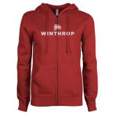 ENZA Ladies Cardinal Fleece Full Zip Hoodie-Primary Mark White Soft Glitter