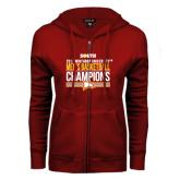 ENZA Ladies Cardinal Fleece Full Zip Hoodie-2017 Mens Basketball Champions Stacked