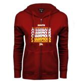ENZA Ladies Cardinal Fleece Full Zip Hoodie-2017 Mens Basketball Champions Repeating