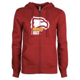 ENZA Ladies Cardinal Fleece Full Zip Hoodie-Winthrop Eagles w/ Eagle Head