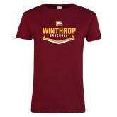 Ladies Cardinal T Shirt-Baseball Plate