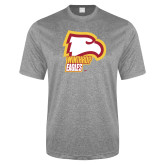 Performance Grey Heather Contender Tee-Winthrop Eagles w/ Eagle Head