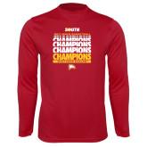 Performance Cardinal Longsleeve Shirt-2017 Mens Basketball Champions Repeating