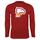 Performance Cardinal Longsleeve Shirt-Winthrop Eagles w/ Eagle Head