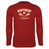 Performance Cardinal Longsleeve Shirt-Lacrosse Crossed Sticks