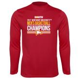 Performance Cardinal Longsleeve Shirt-2017 Mens Basketball Champions Stacked