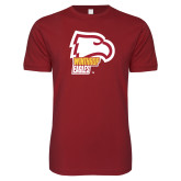 Next Level SoftStyle Cardinal T Shirt-Winthrop Eagles w/ Eagle Head