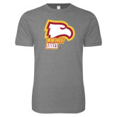 Next Level SoftStyle Heather Grey T Shirt-Winthrop Eagles w/ Eagle Head