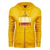 ENZA Ladies Gold Fleece Full Zip Hoodie-2017 Mens Basketball Champions Repeating