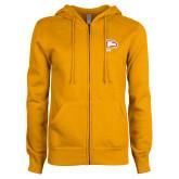 ENZA Ladies Gold Fleece Full Zip Hoodie-Winthrop Eagles w/ Eagle Head