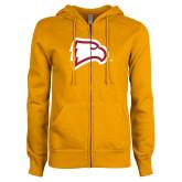 ENZA Ladies Gold Fleece Full Zip Hoodie-Eagle Head
