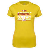 Ladies Syntrel Performance Gold Tee-2017 Mens Basketball Champions Stacked