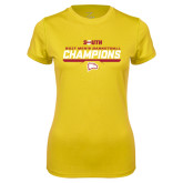 Ladies Syntrel Performance Gold Tee-2017 Mens Basketball Champions Repeating