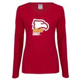 Ladies Cardinal Long Sleeve V Neck Tee-Winthrop Eagles w/ Eagle Head
