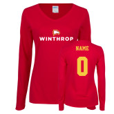 Ladies Cardinal Long Sleeve V Neck Tee-Primary Mark, Personalized Name and #