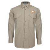 Khaki Long Sleeve Performance Fishing Shirt-Eagle Head