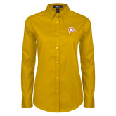 Ladies Gold Twill Button Down Long Sleeve-Eagle Head