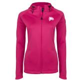 Ladies Tech Fleece Full Zip Hot Pink Hooded Jacket-Eagle Head
