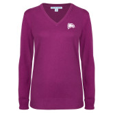 Ladies Deep Berry V Neck Sweater-Eagle Head