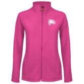 Ladies Fleece Full Zip Raspberry Jacket-Eagle Head