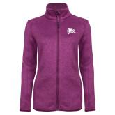 Dark Pink Heather Ladies Fleece Jacket-Eagle Head