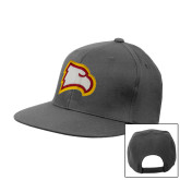 Charcoal Flat Bill Snapback Hat-Eagle Head