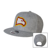 Heather Grey Wool Blend Flat Bill Snapback Hat-Eagle Head