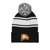 Black/White Two Tone Knit Pom Beanie w/Cuff-Eagle Head