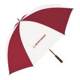 62 Inch Cardinal/White Umbrella-Primary Mark Flat