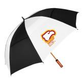 62 Inch Black/White Vented Umbrella-Winthrop Eagles w/ Eagle Head