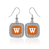 Crystal Studded Square Pendant Silver Dangle Earrings-W