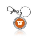 Crystal Studded Round Key Chain-W