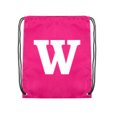 Pink Drawstring Backpack-W