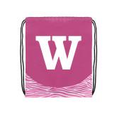 Nylon Zebra Pink/White Patterned Drawstring Backpack-W