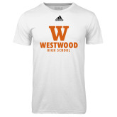 Adidas Climalite White Ultimate Performance Tee-W Westwood High School Stacked