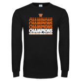 Black Long Sleeve T Shirt-Swimming Champions Repeating