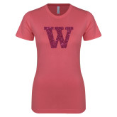 Next Level Ladies SoftStyle Junior Fitted Pink Tee-M Hot Pink Glitter