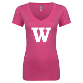 Next Level Ladies Junior Fit Ideal V Pink Tee-W