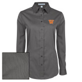 Ladies Grey Tonal Pattern Long Sleeve Shirt-W