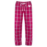 Ladies Dark Fuchsia/White Flannel Pajama Pant-W