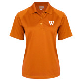 Ladies Orange Textured Saddle Shoulder Polo-W
