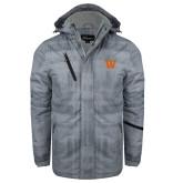 Grey Brushstroke Print Insulated Jacket-W