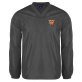 V Neck Charcoal Raglan Windshirt-W