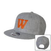 Heather Grey Wool Blend Flat Bill Snapback Hat-W