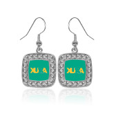 Crystal Studded Square Pendant Silver Dangle Earrings-XULA with Louisiana Horizontal