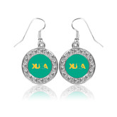 Crystal Studded Round Pendant Silver Dangle Earrings-XULA with Louisiana Horizontal
